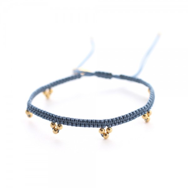 Muja Juma Blue Cord Goldplated Beads