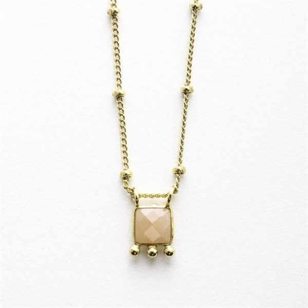 Muja Juma Collier Etnic Square Peach Moonstone