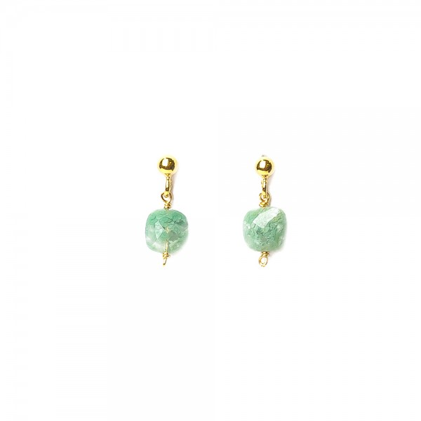 Muja Juma Earring Green Stone Beads