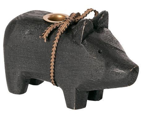 Holzschwein, klein - Schwarz